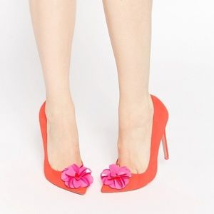ASOS Player Pointed Pink Flower High Heels US 5